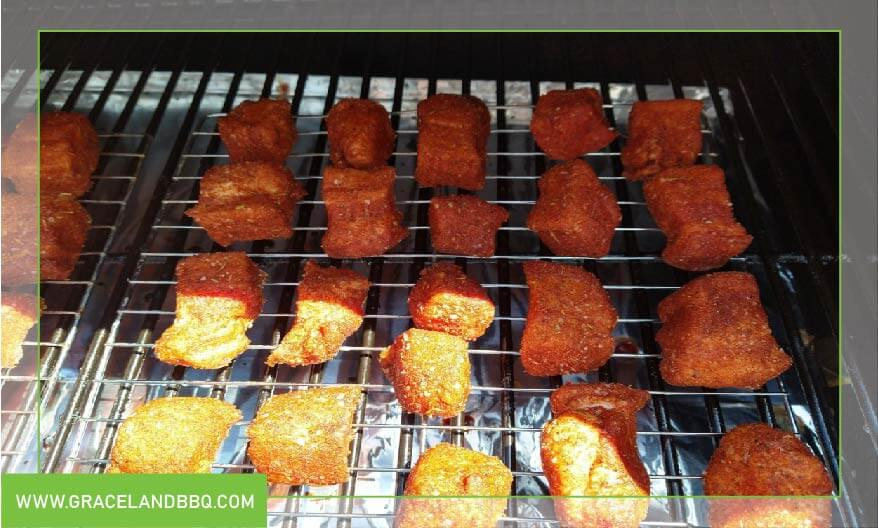 pork raw cubes in smoker