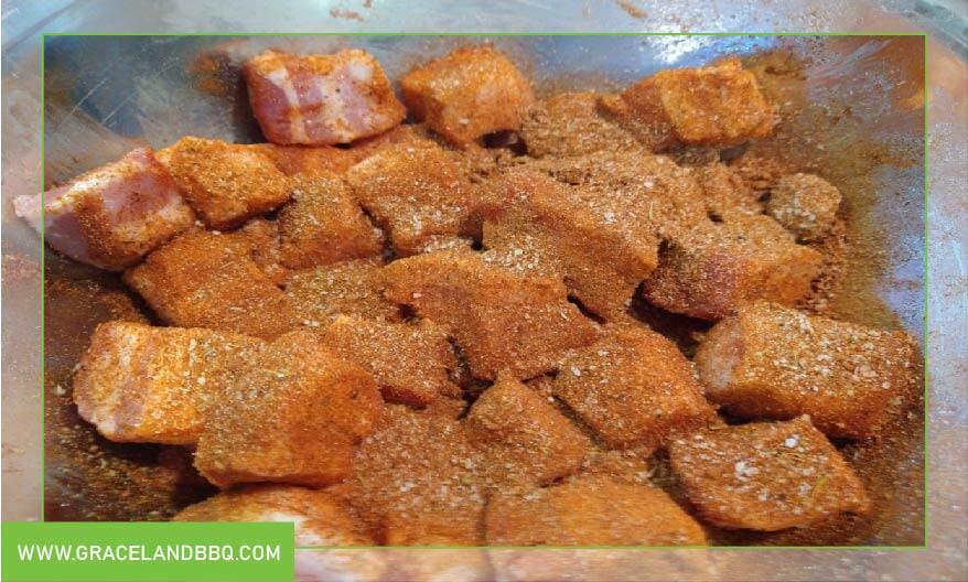 pork cubes with Memphis rub